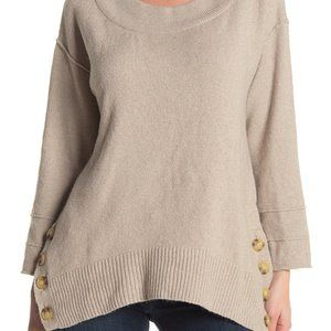 Democracy Side Button Boatneck Sweater NWT